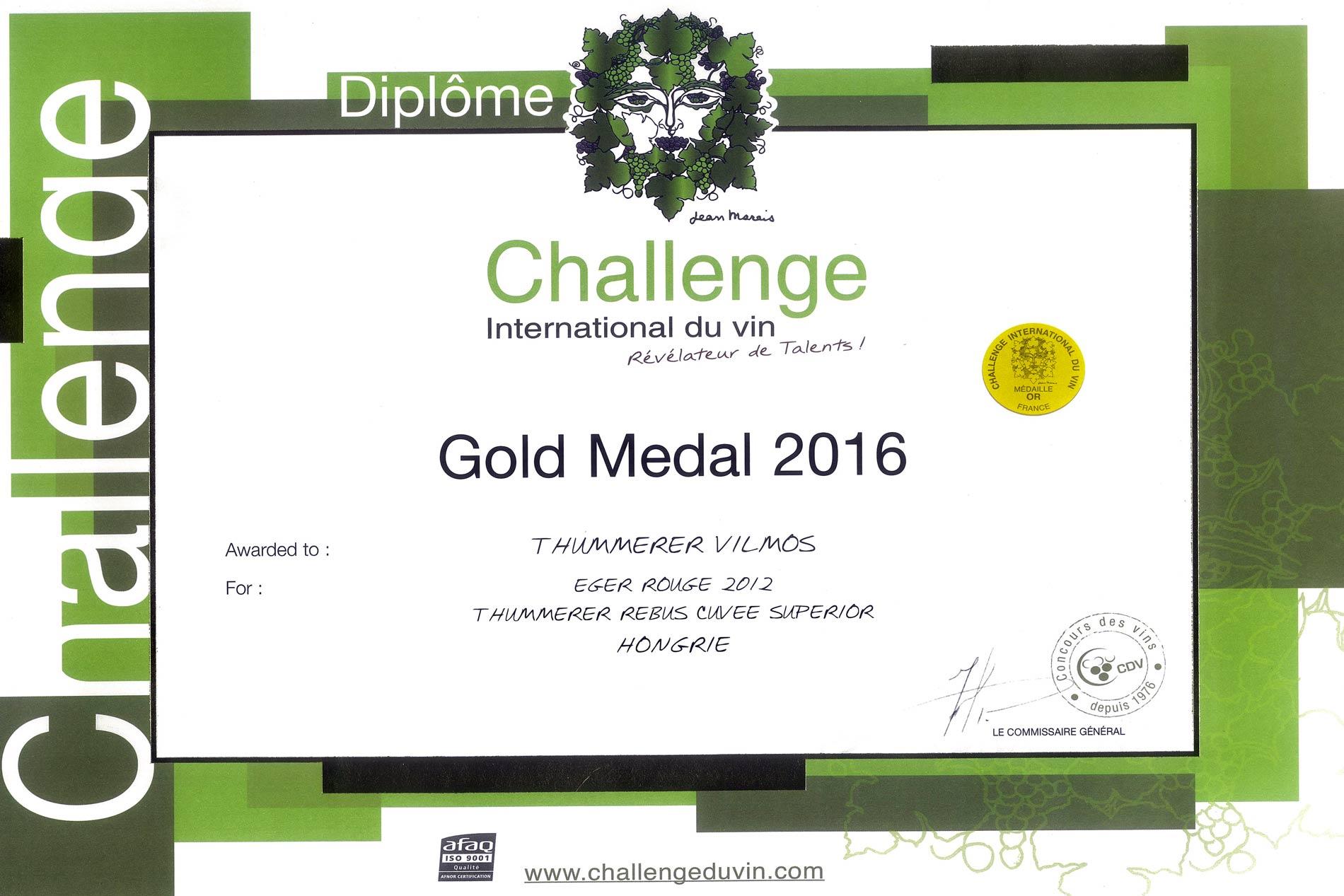 Challenge International du Vin Gold Medal