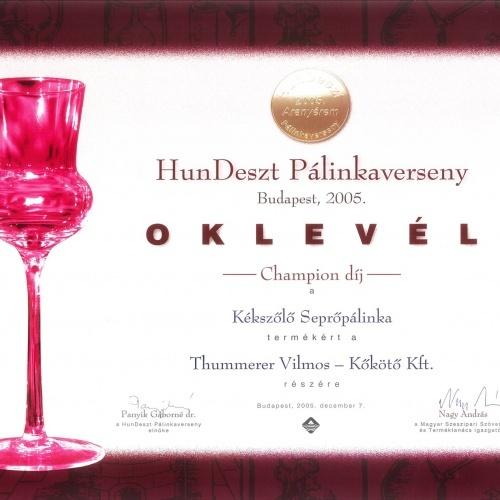 Pálinka Champion díj