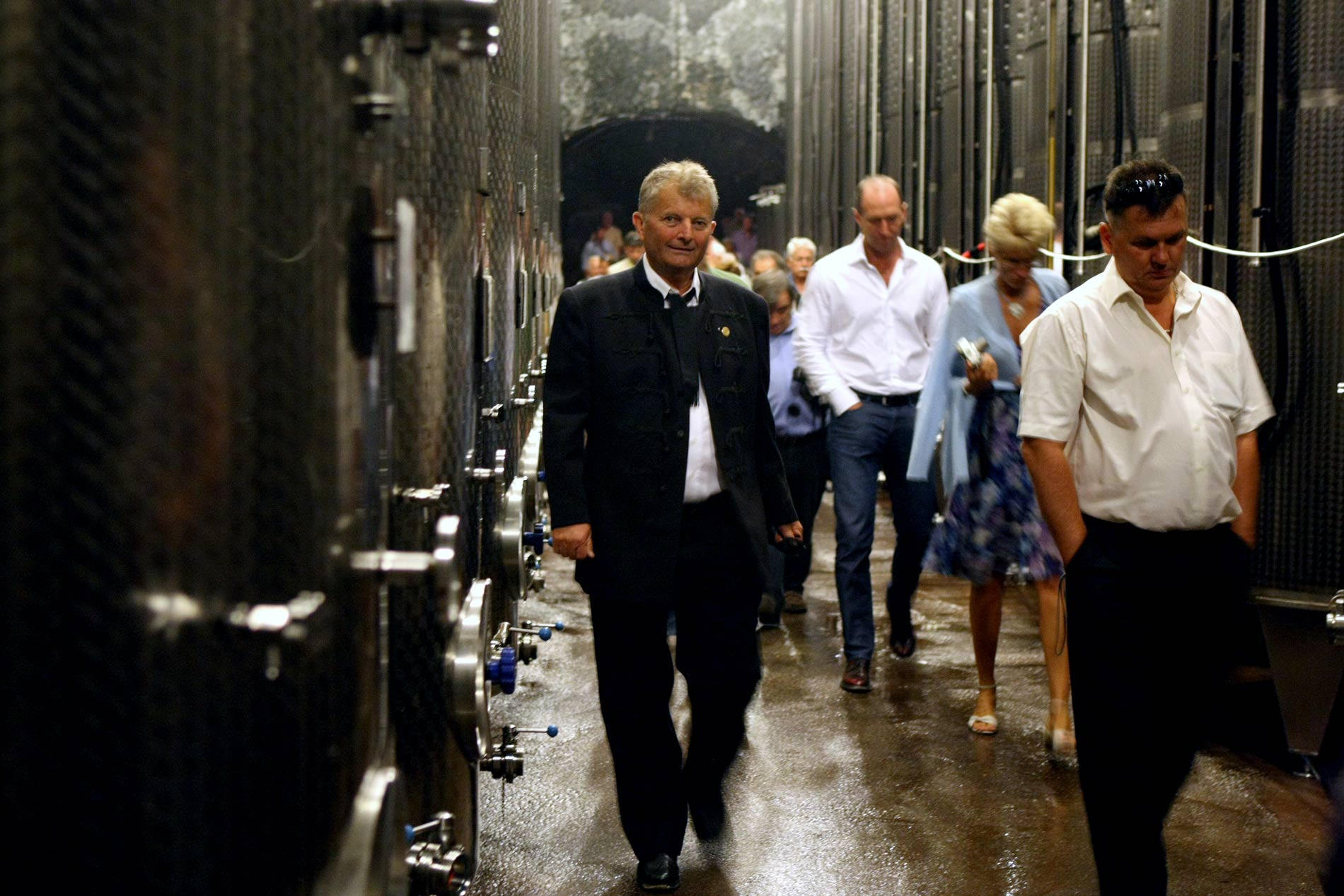 Walking in the cellar with guests