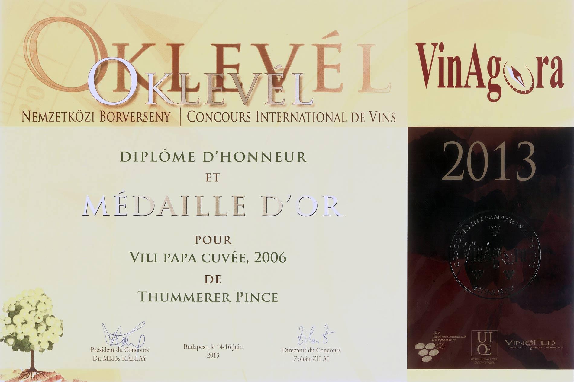 Vinagora National Wine Competition, Gold Medal
