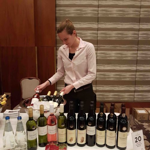Polett Pulay at a wine exhibition