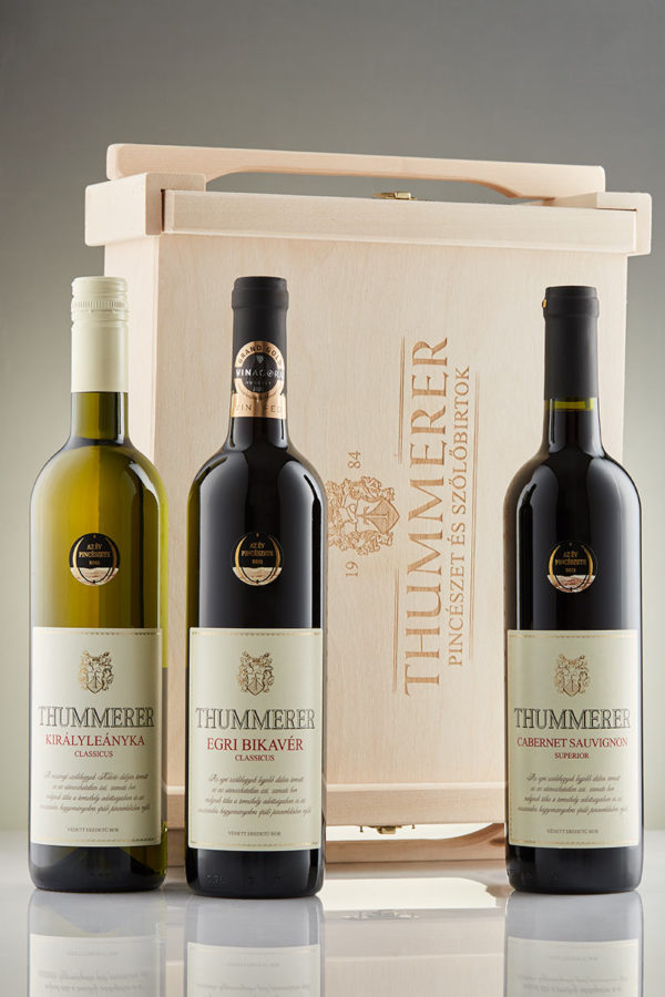 Wine collection in wooden box